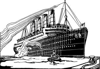 vintage engraving of a transatlantic ship