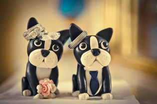 Cake topper dogs with wedding rings