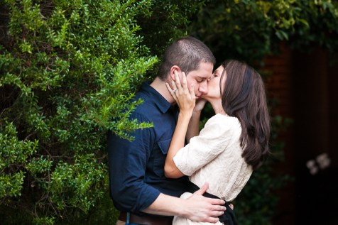 Couple Kissing Engagement Session