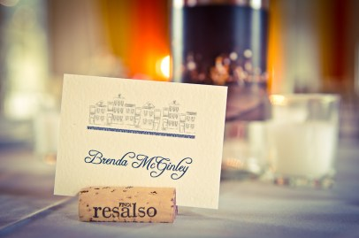bride name tag with wine cork
