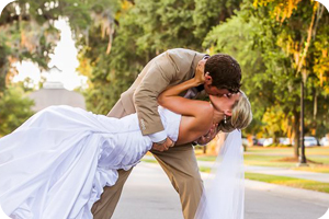 dip bride and groom portrait