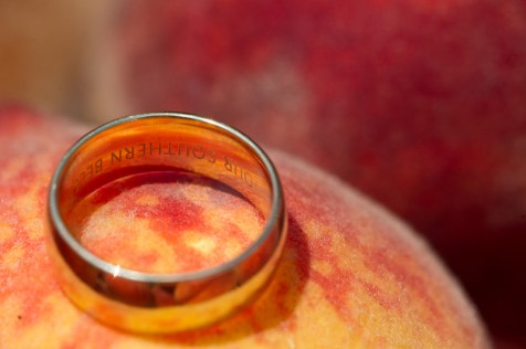 wedding ring inscription southern belle peach