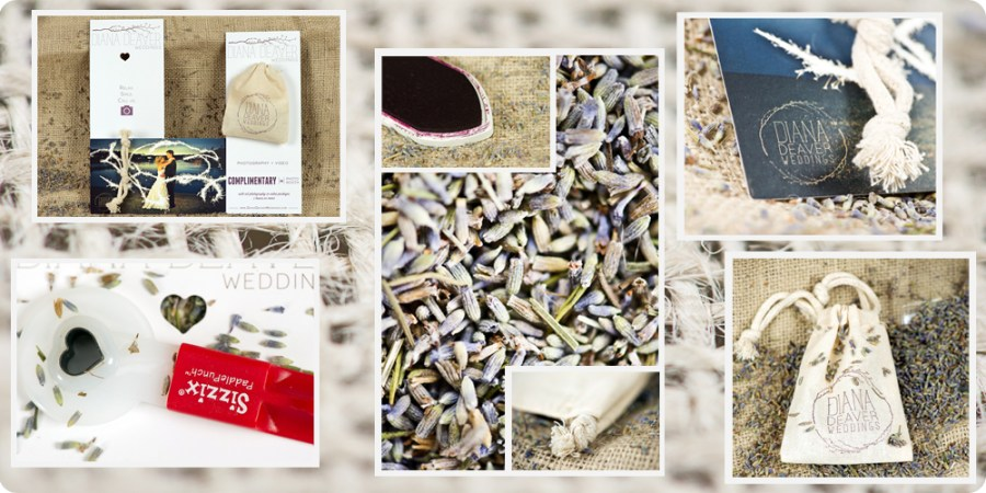 Diana Deaver Wedding Photography Custom branding muslin bags lavender