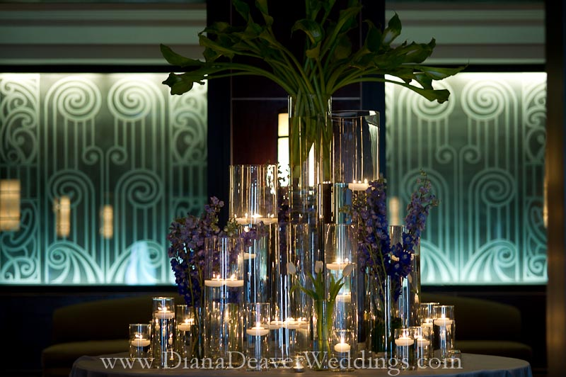 glass, flowers and candles wedding decorations captured by wedding photographer Diana Deaver in Charleston SC-4