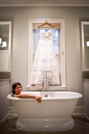 bride in bathtub