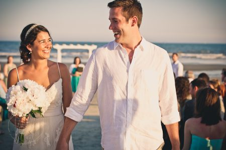 bride and groom smile beach wedding kiawah