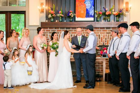 indoor ceremony at ion creek club photo by diana deaver weddings