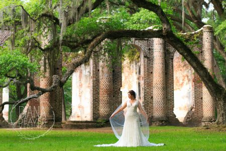 Bridal Portrait at Old Shelton Church Ruins-photographed by Diana Deaver Weddings