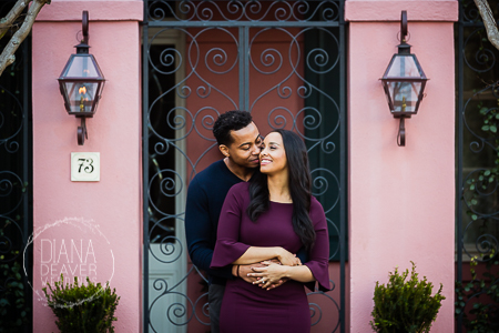 winter and fall engagement session downtown charleston sc photographed by Diana Deaver Weddings