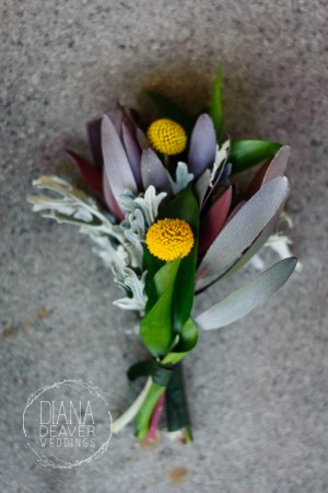 fall wedding boutonniere and flowers with yellow flowers