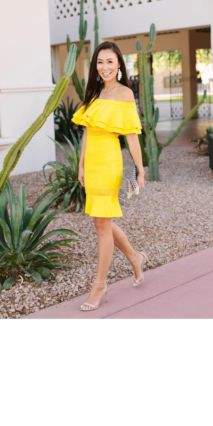 Phoenix lifestyle blogger Diana Elizabeth in yellow ruffle sweater dress
