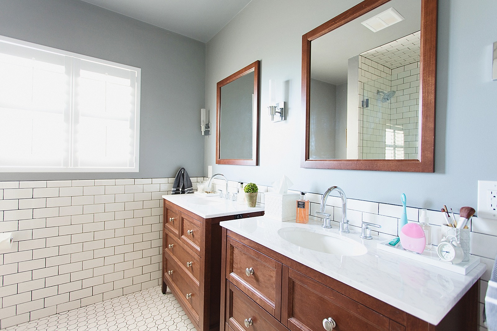 ... White Subway Tile With Dark Black Grout Bathroom Jonathan Adler Touches  Zebra Rug And Bathroom Refresh