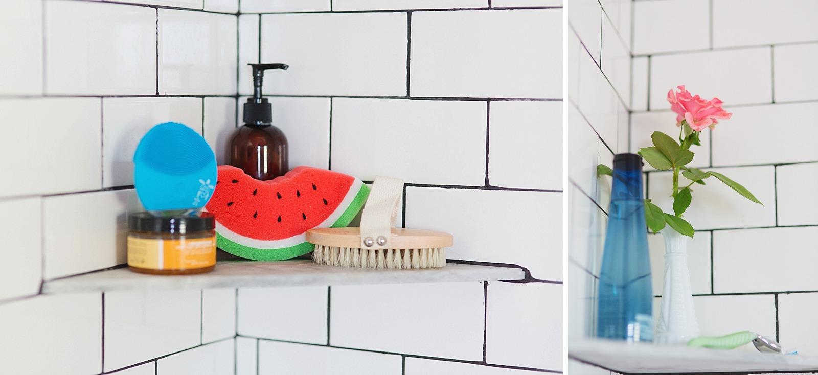 ... White Subway Tile With Dark Black Grout Bathroom Jonathan Adler Touches  Zebra Rug And Bathroom Refresh
