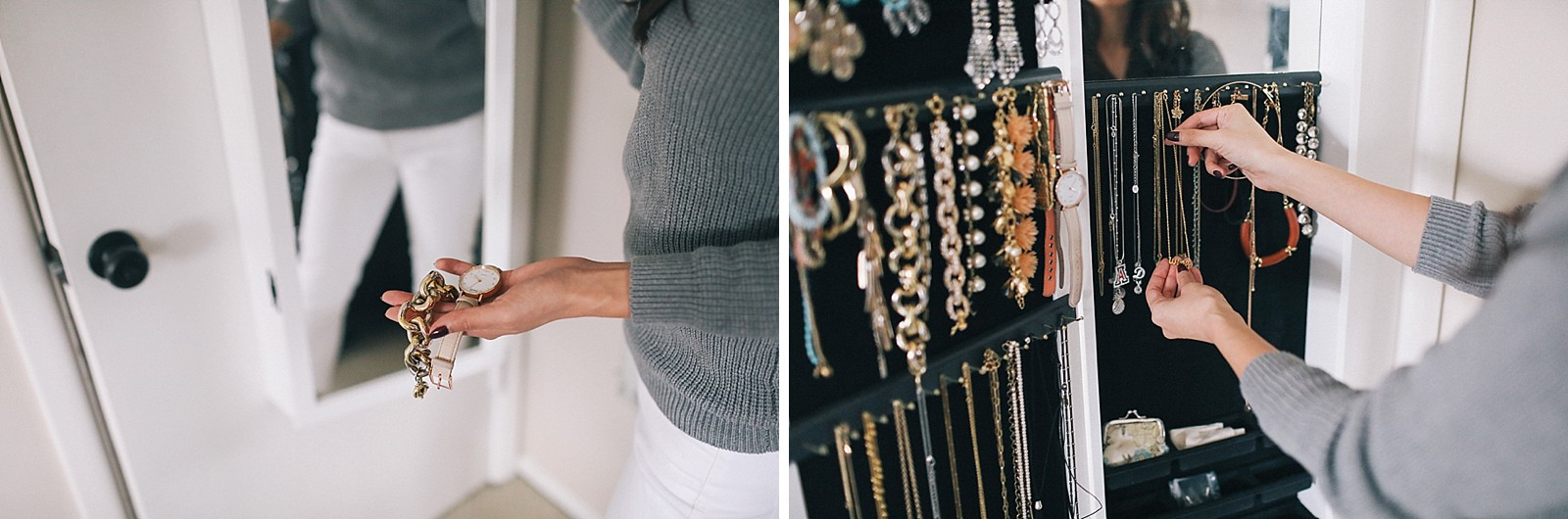 behind the door jewelry cabinet organization holds many bracelets earrings and necklaces