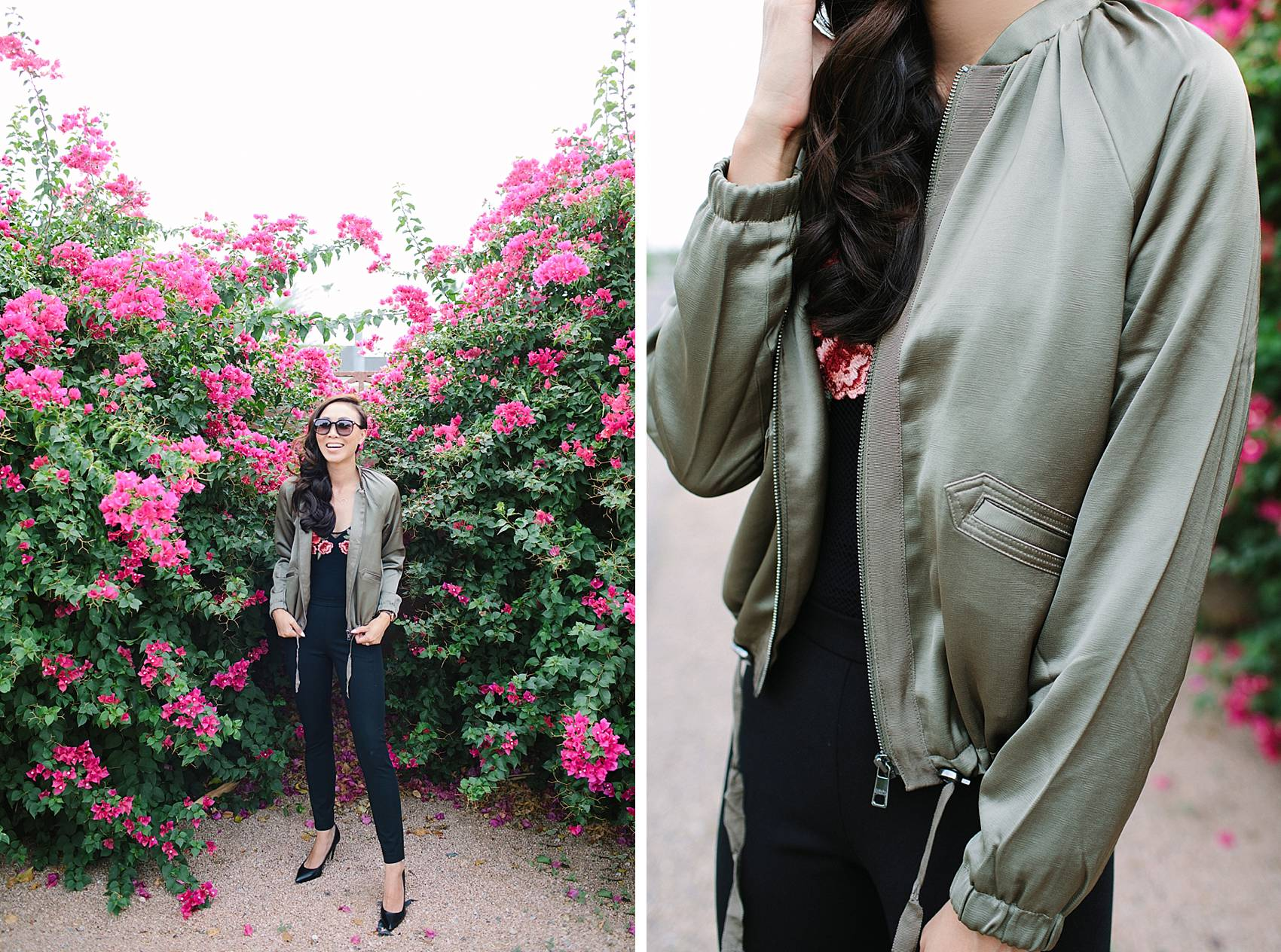 diana elizabeth lifestyle blogger in black devon-fit bi-stretch leggings and satin bomber jacket by banana republic standing in front of pink bougevvilla plants