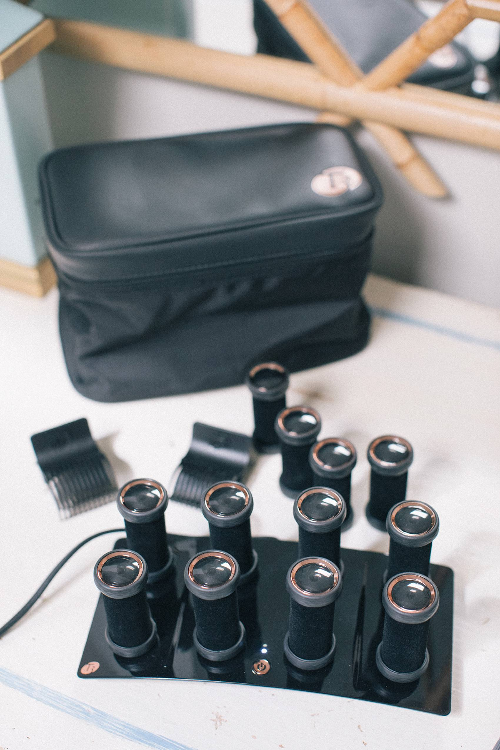t3 of volumizing hot rollers luxe on desk clips and extra rollers in bag