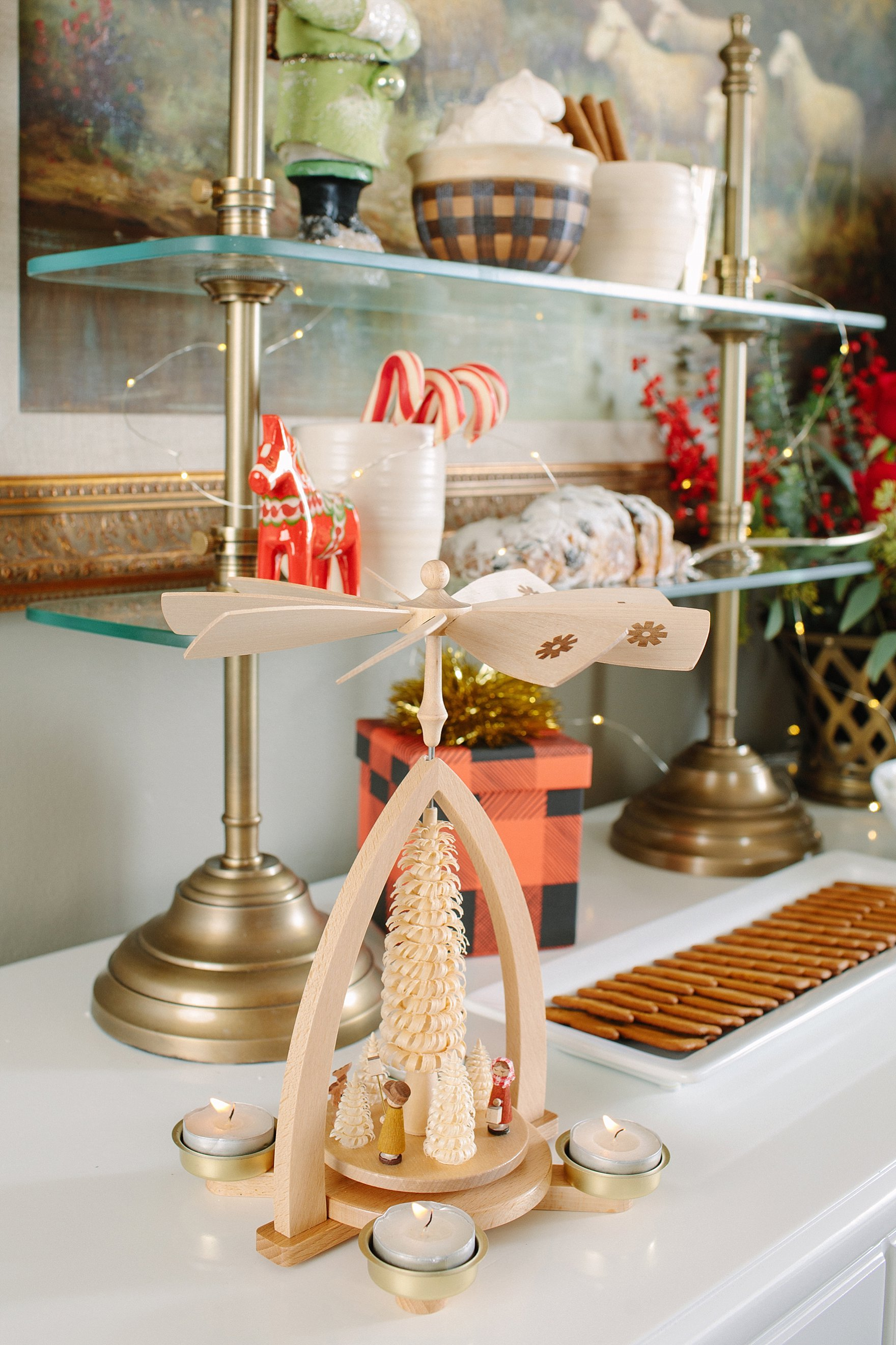 Christmas holiday tables cape inspiration red green and white Ballard Designs with blogger Diana Elizabeth - hot cocoa bar