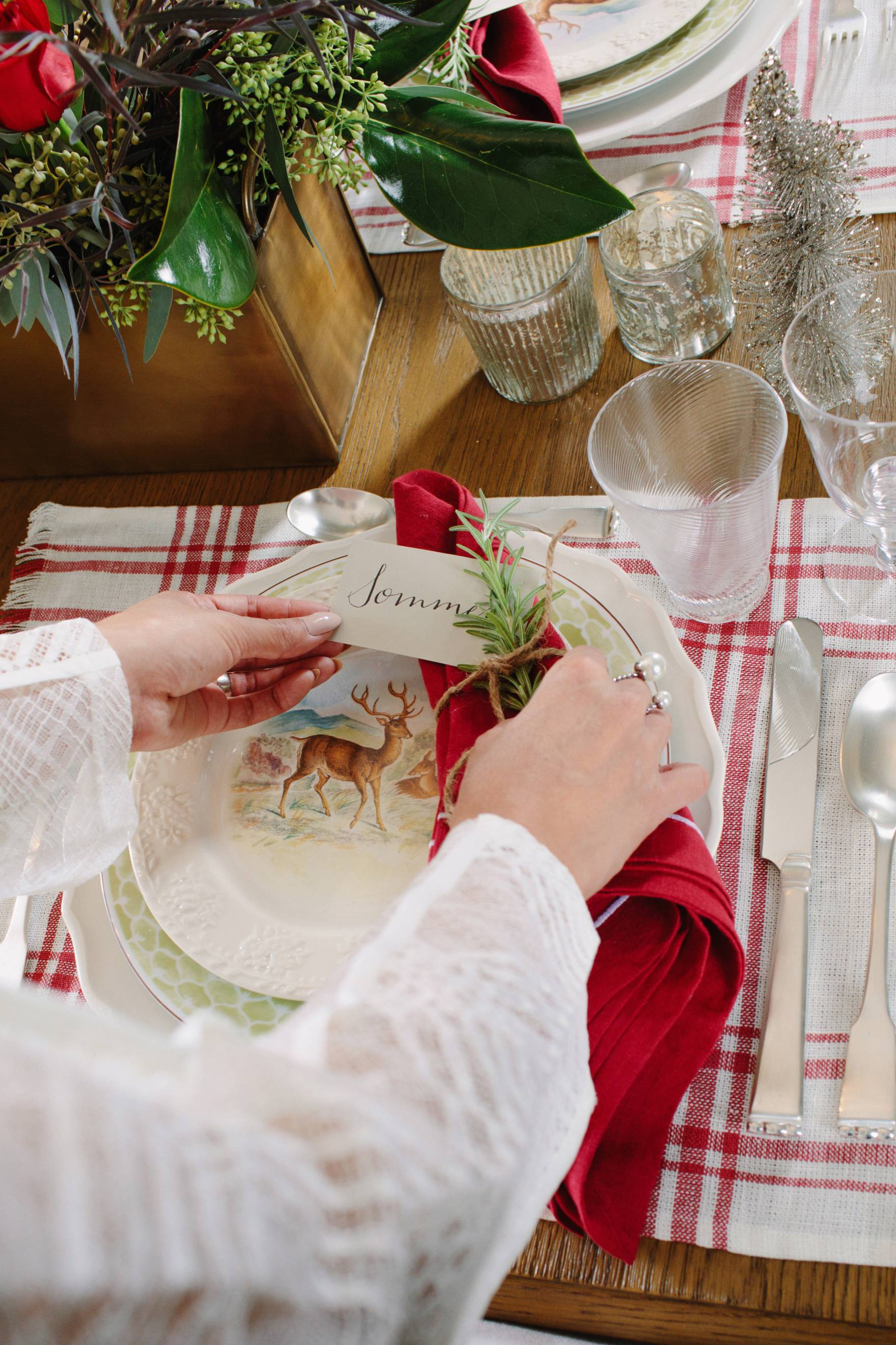 Christmas holiday tables cape inspiration red green and white Ballard Designs with blogger Diana Elizabeth red plaid placemat