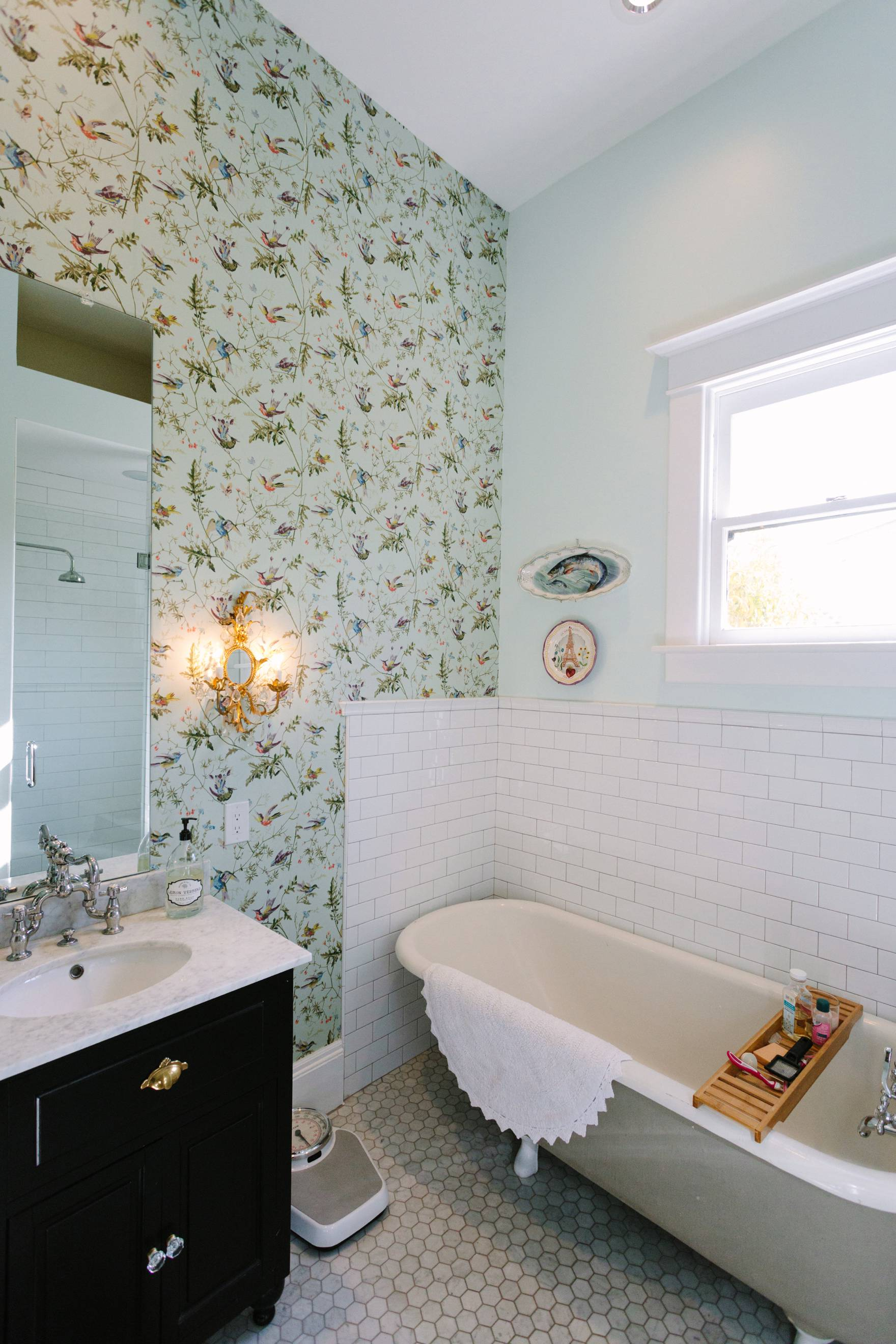 Home Tour of Boho Farm and Home in Downtown Phoenix - cottage brick style home from 1903 bathroom white subway tile and wallpaper French style