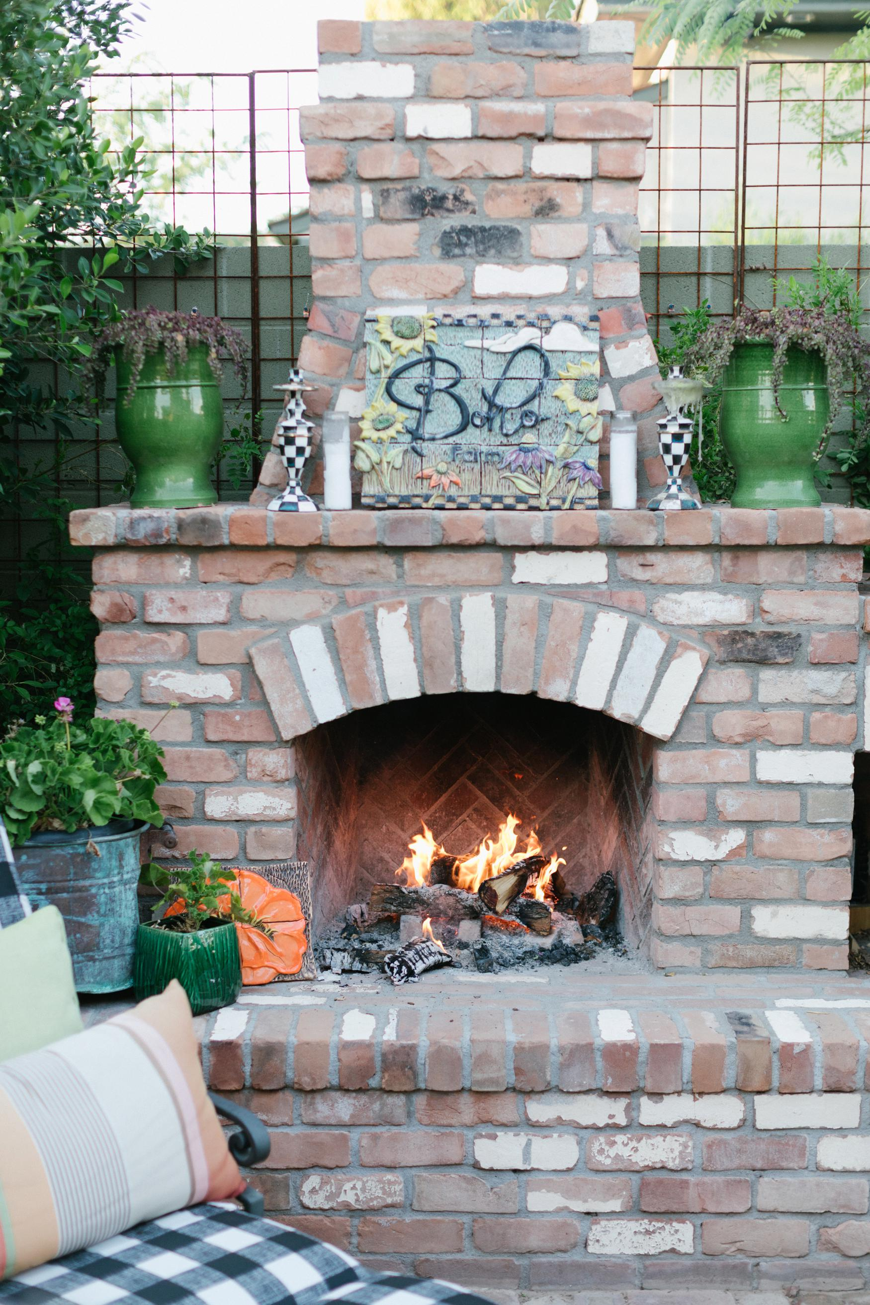 Boho Farm and Home Dinner theme Spain in backyard tapas. backyard wood burning pizza oven