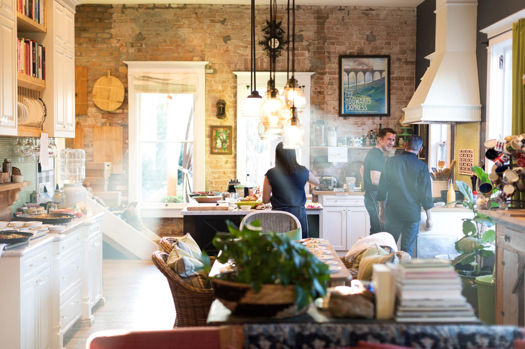 Boho Farm and Home Dinner theme Spain in backyard tapas. in the kitchen behind the scenes