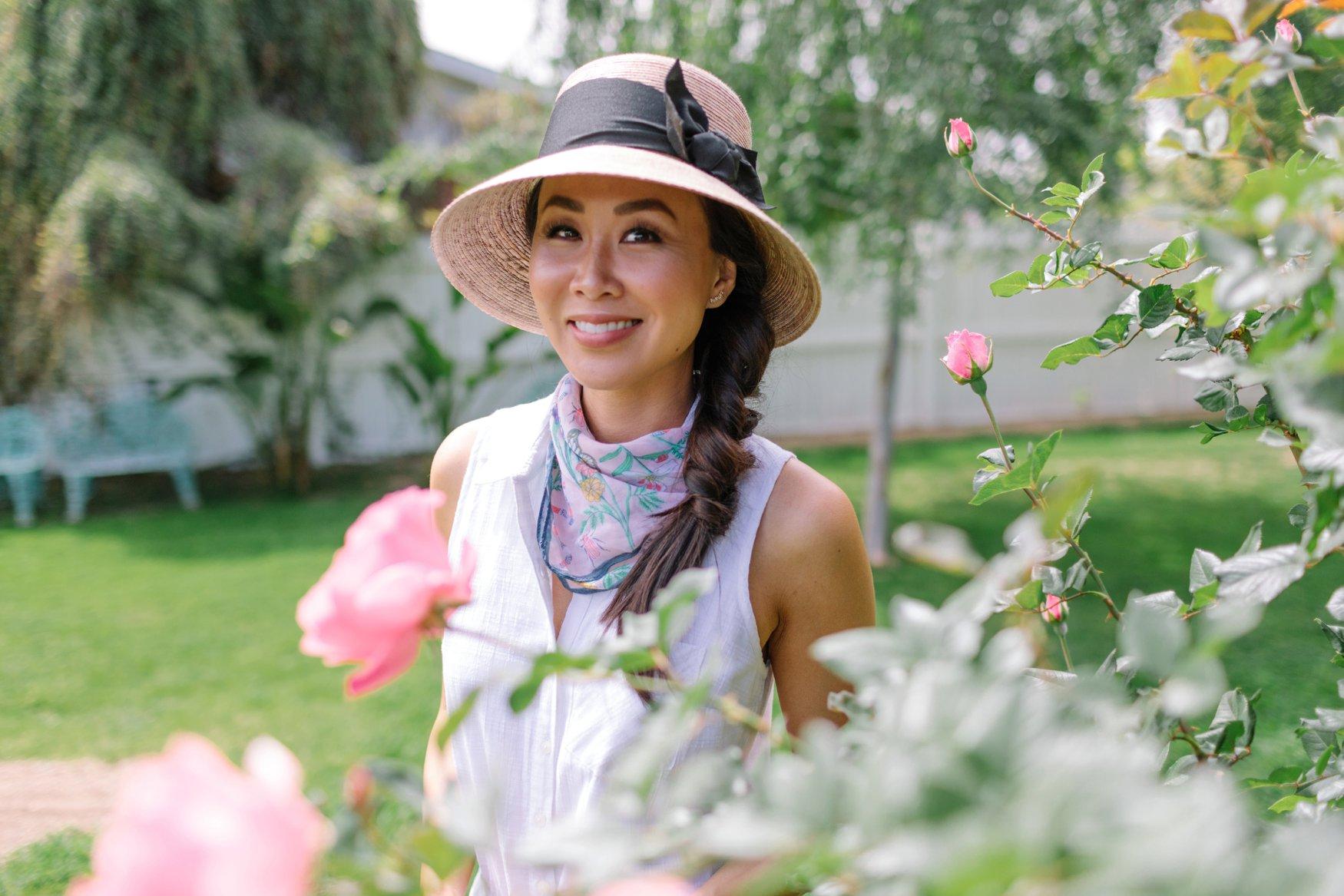 garden scarf with garden hat in romper