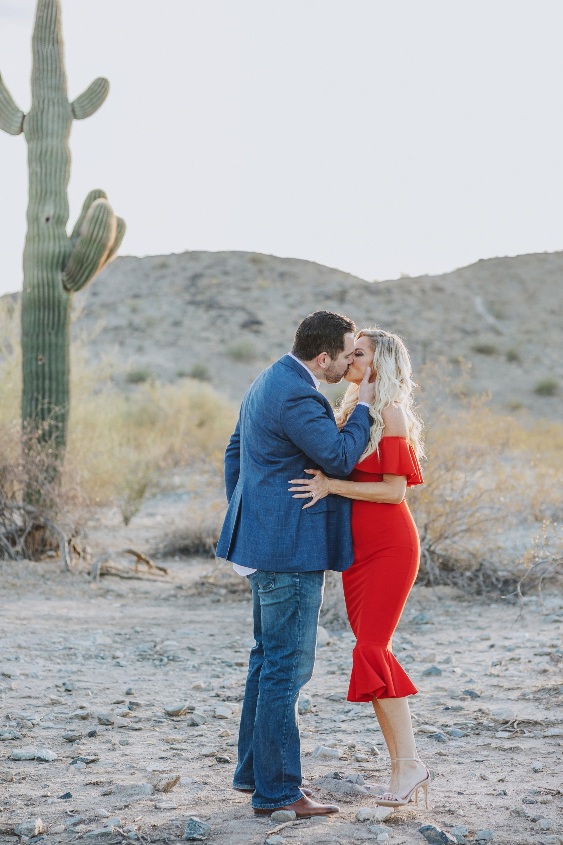 Phoenix Arizona Scorpion Gulch desert engagement session, Melayne + Drew by Diana Elizabeth Photography - www.dianaelizabeth.com // off shoulder red dress with ruffles