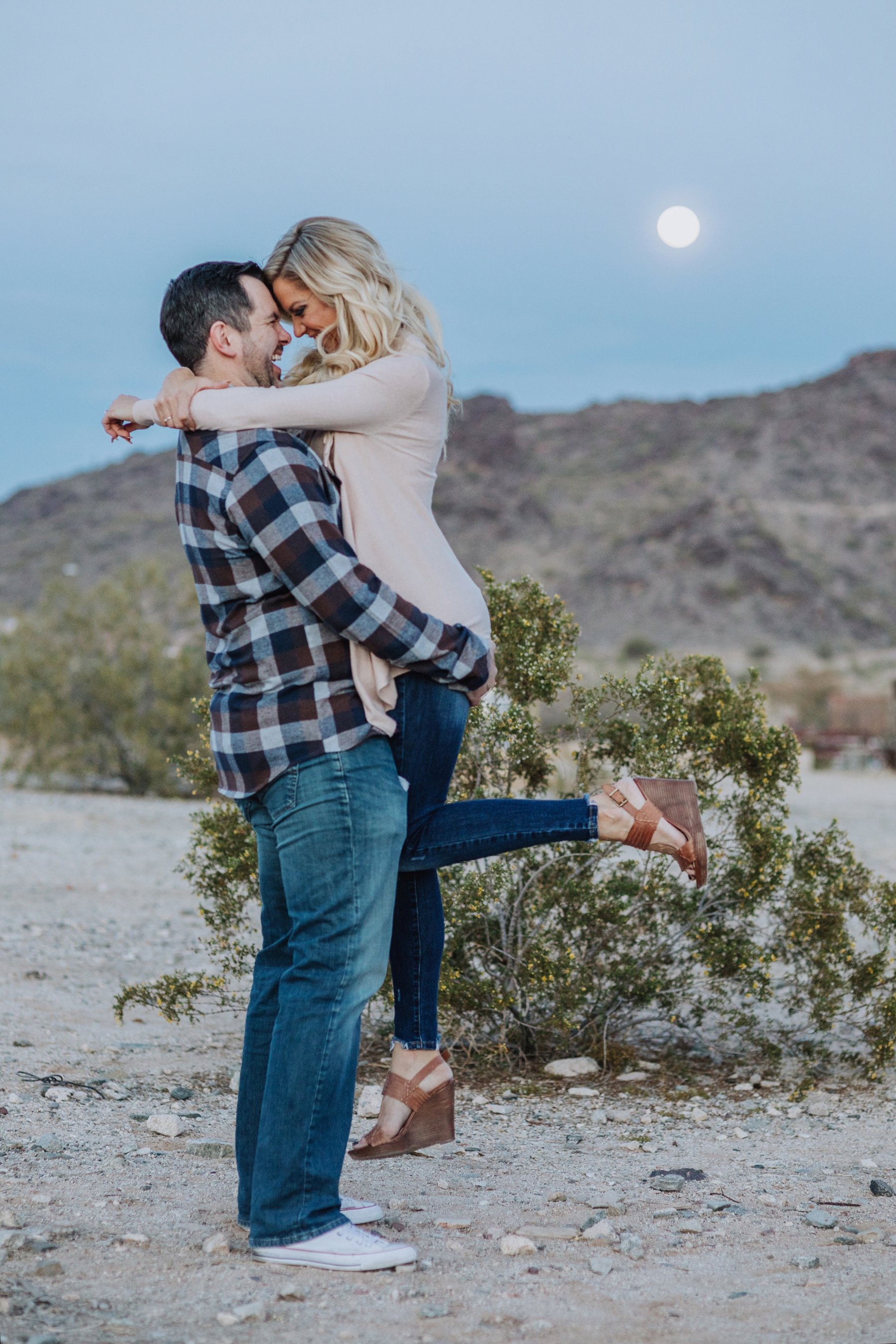 Phoenix Arizona Scorpion Gulch desert engagement session, Melayne + Drew by Diana Elizabeth Photography - www.dianaelizabeth.com // evening with the moon in the desert