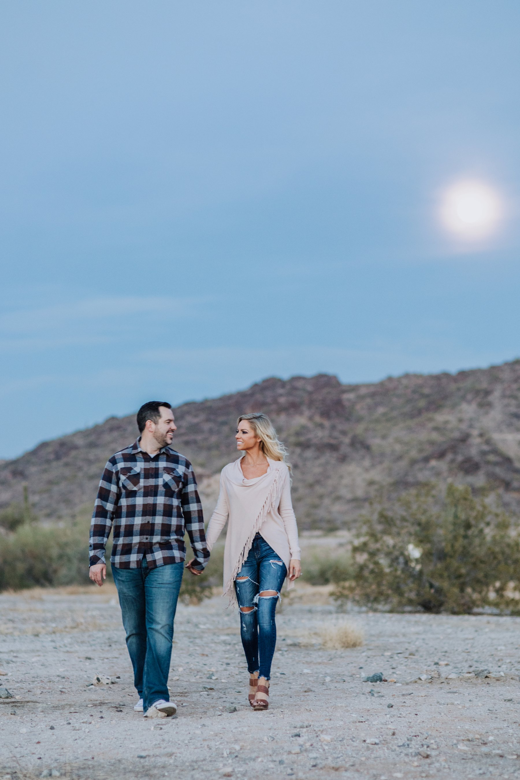 Phoenix Arizona Scorpion Gulch desert engagement session, Melayne + Drew by Diana Elizabeth Photography - www.dianaelizabeth.com // evening with the moon in the desert couple walking