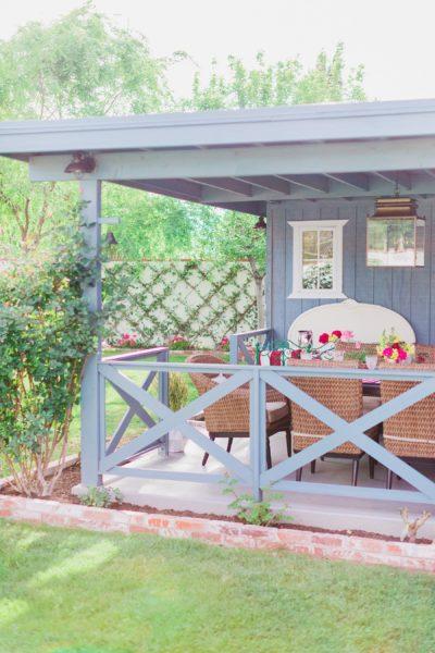 backyard patio makeover reveal blue and coastal vibe