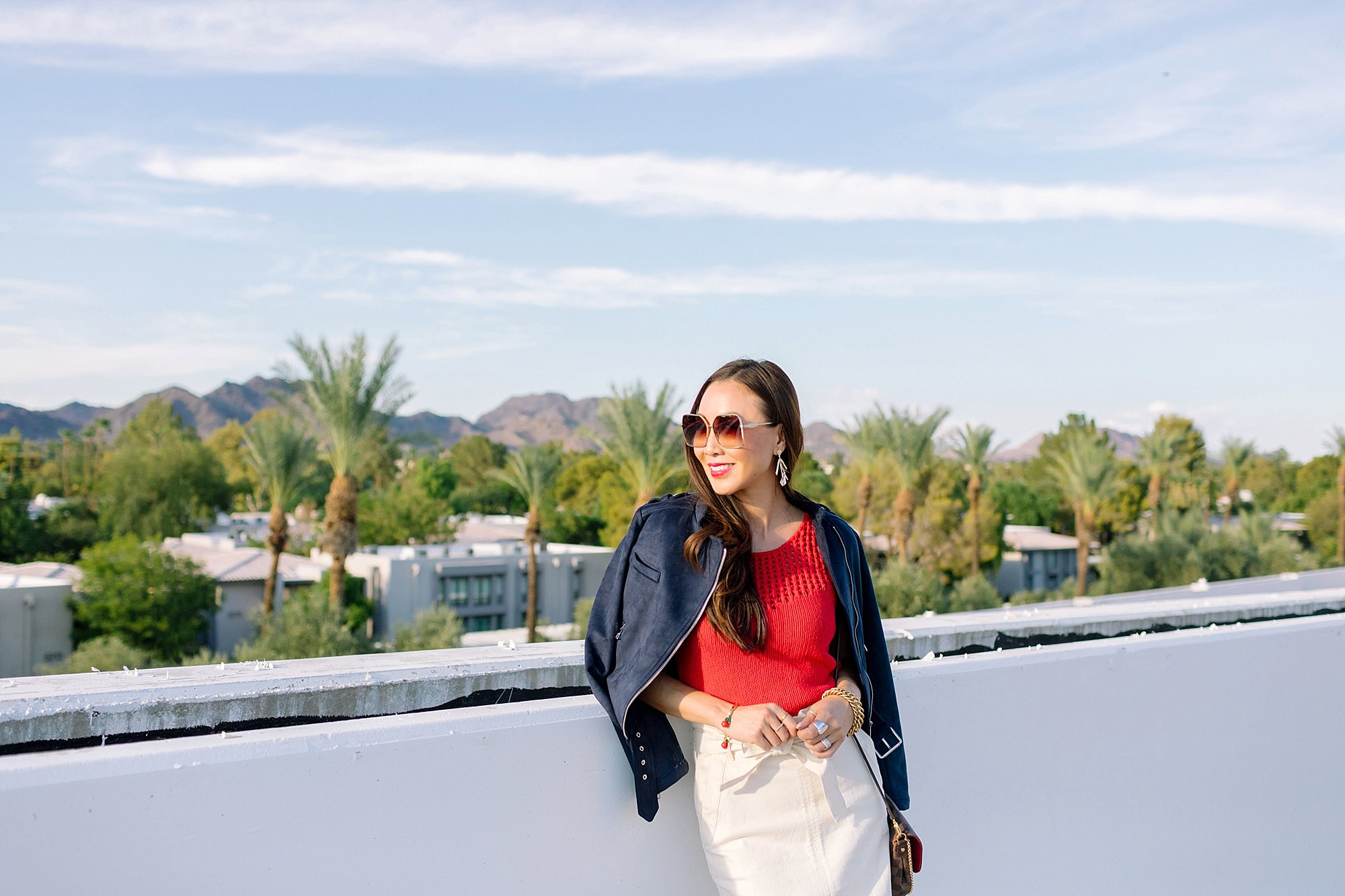 Banana republic high waist paper bag skirt with faux suede blue jacket on phoenix lifestyle blogger diana Elizabeth