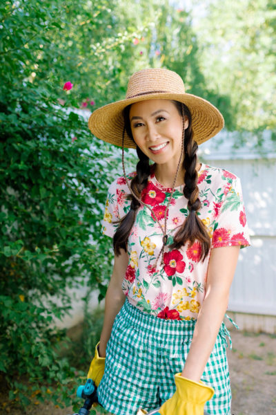 fAQ about starting a garden Garden preparation with Fiskars and Gilmour flexogen hose with tool shed tour garden lifestyle blogger Diana Elizabeth phoenix arizona wearing floral shirt and gingham shorts