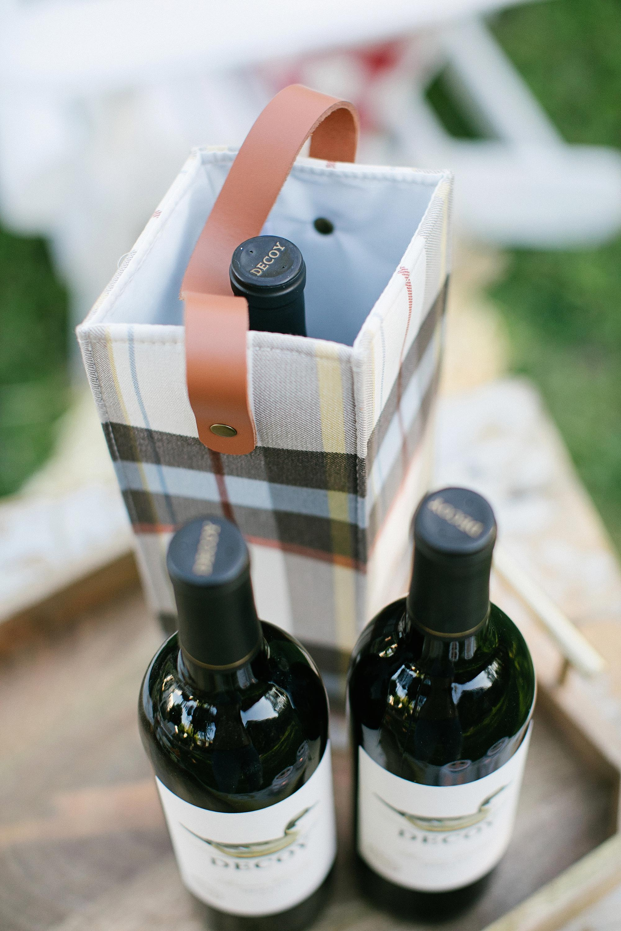 plaid holder for wine gifting decoy wine for fall party gift bag