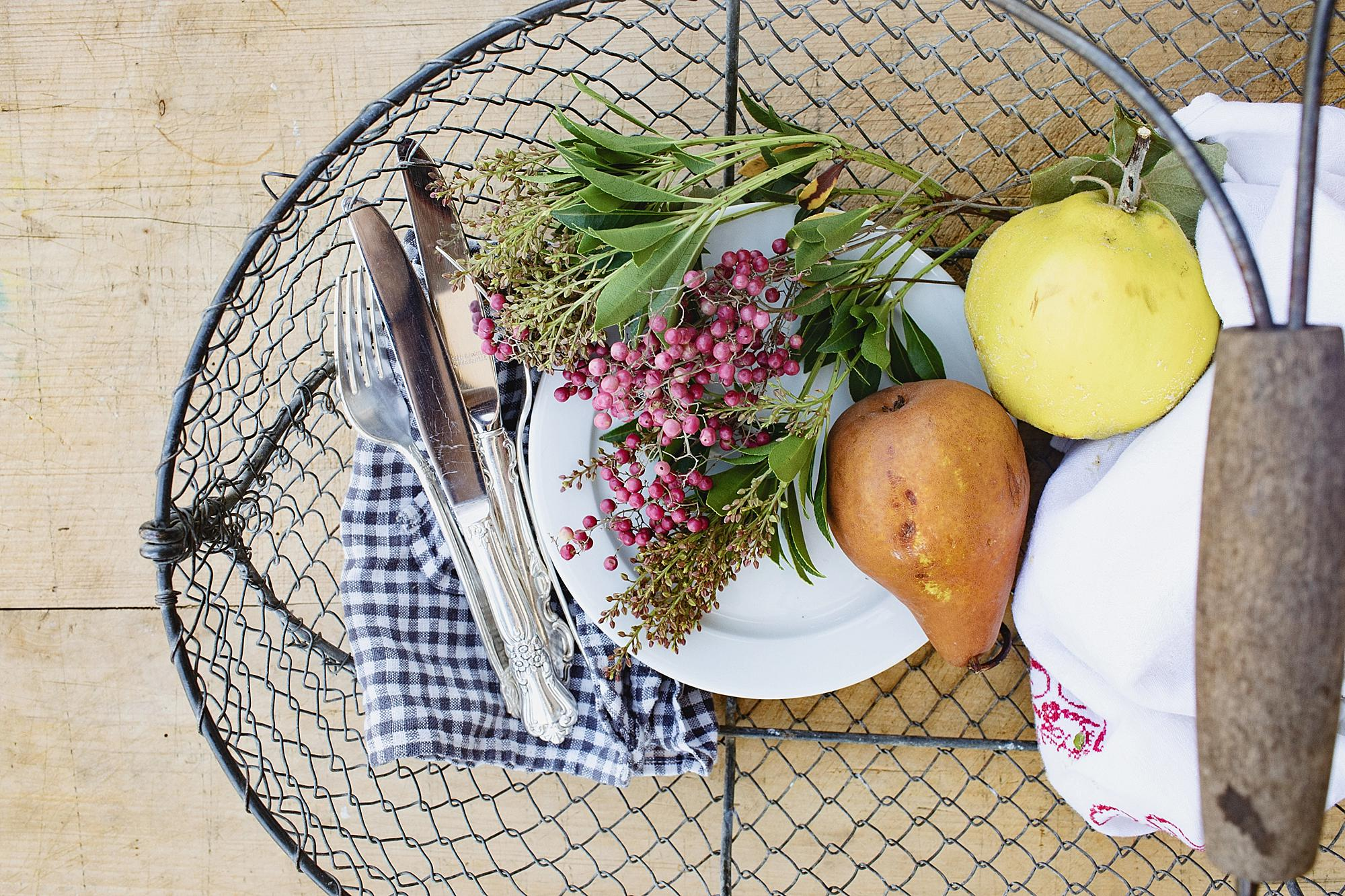 wire basket filled with goodies picnic time