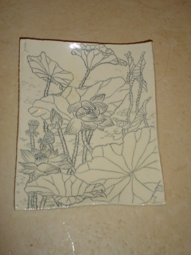 lily-pond-ceramic-pencil-drawing-plate-2007