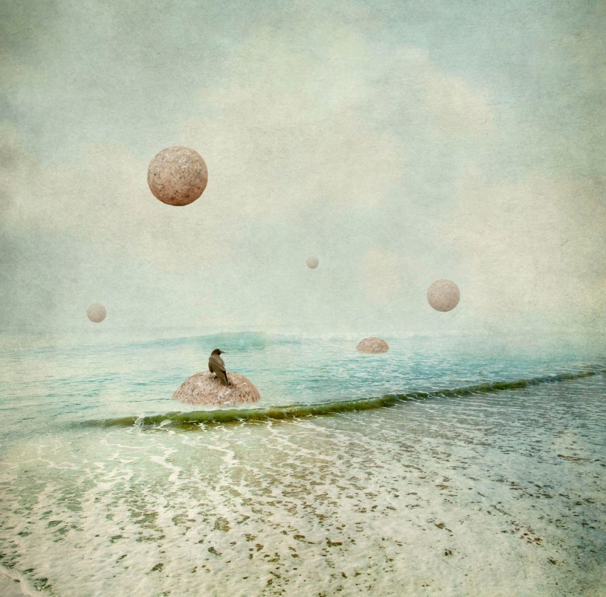 Diana Jane Art, Photography, Digital Art, ocean, crows, blue, surreal art,