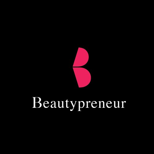 creative minimalist logo design of a B for the company name Beautypreneur as a pair of profile lips