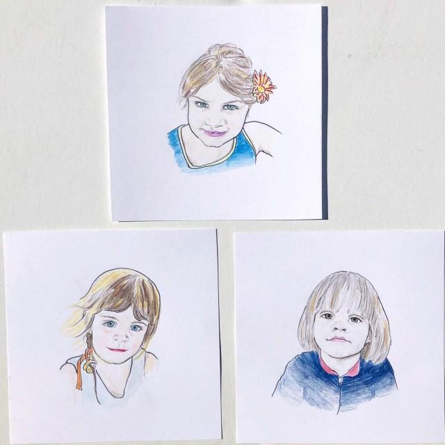 mini child portrait drawings
