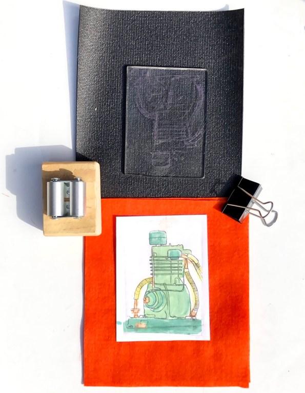 mini printing press the pocket press is a small printmaking press by Diana Kohne
