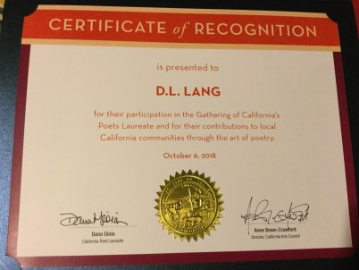 California Arts Council Certificate of Recognition