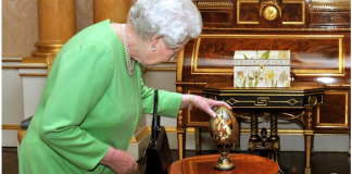 She owns several elaborate, historical Fabergé eggs, including one with a portrait of her younger self painted on it.