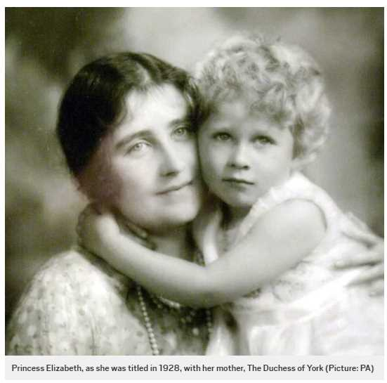 Princess Elizabeth, as she was titled in 1928, with her mother, The Duchess of York