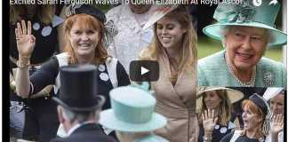 Excited Sarah Ferguson Waves To Queen Elizabeth At Royal Ascot 2017- Day 4 - British Royal Family