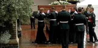 Pallbearers from the Second Battalion, Princess Patricia's Canadian Light Infantry CREDIT AP PHOTO, MATT DUNHAM