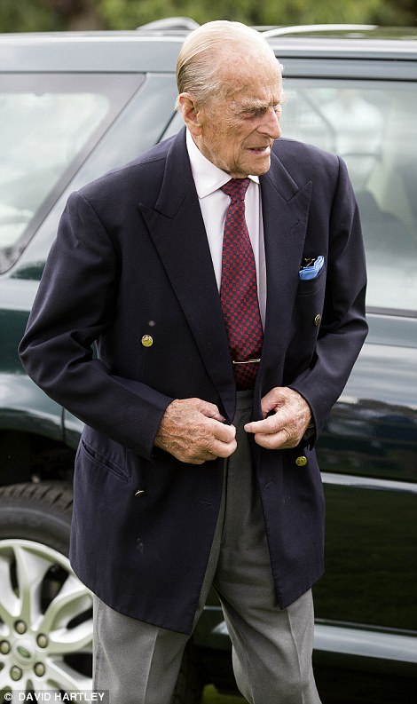 Phillip appeared to be feeling well as he waved to crowds after stepping from his Land Rover accompanied by the Queen