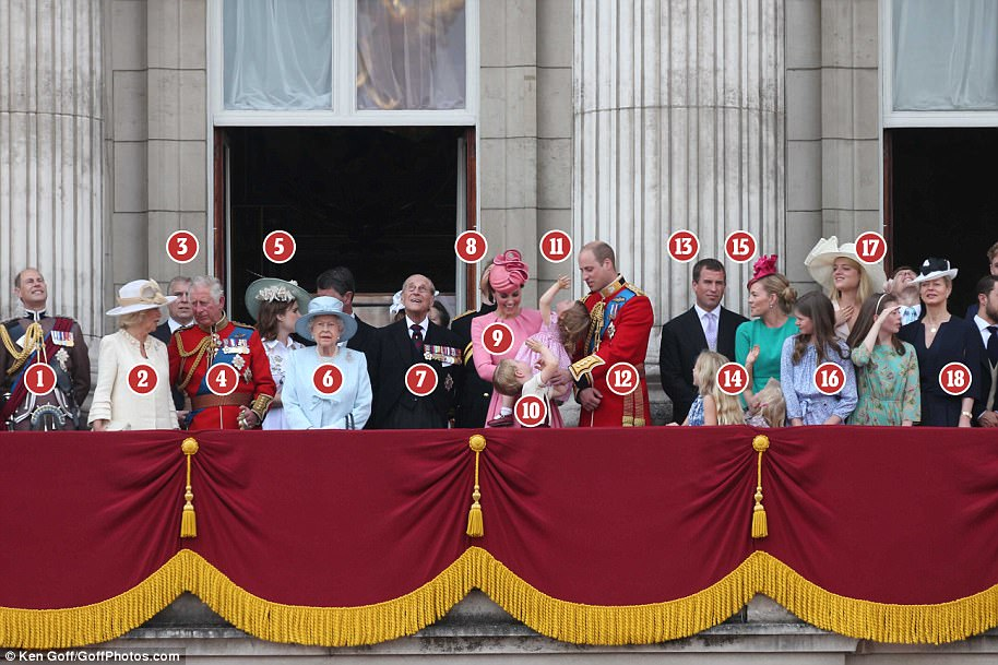 The royals on the balcony spanned four generations, from Queen Elizabeth to the young Princess Charlotte
