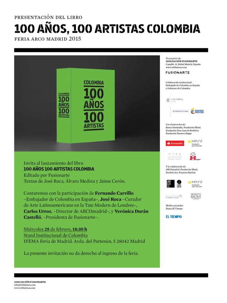 El libro Colombia: 100  años, 100 Artistas se presentará en ARCOmadrid 2015