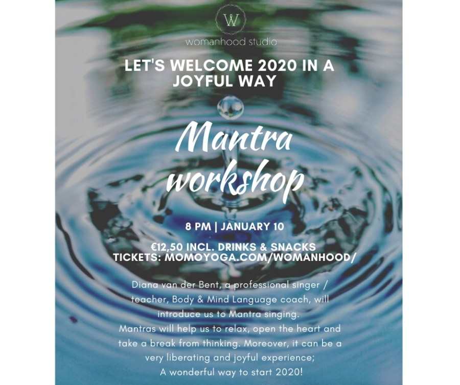 Affiche met info mantra workshop Womanhood