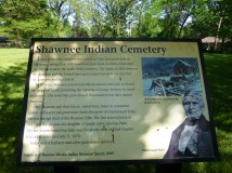 Historical marker for the Shawnee Indian Cemetery.