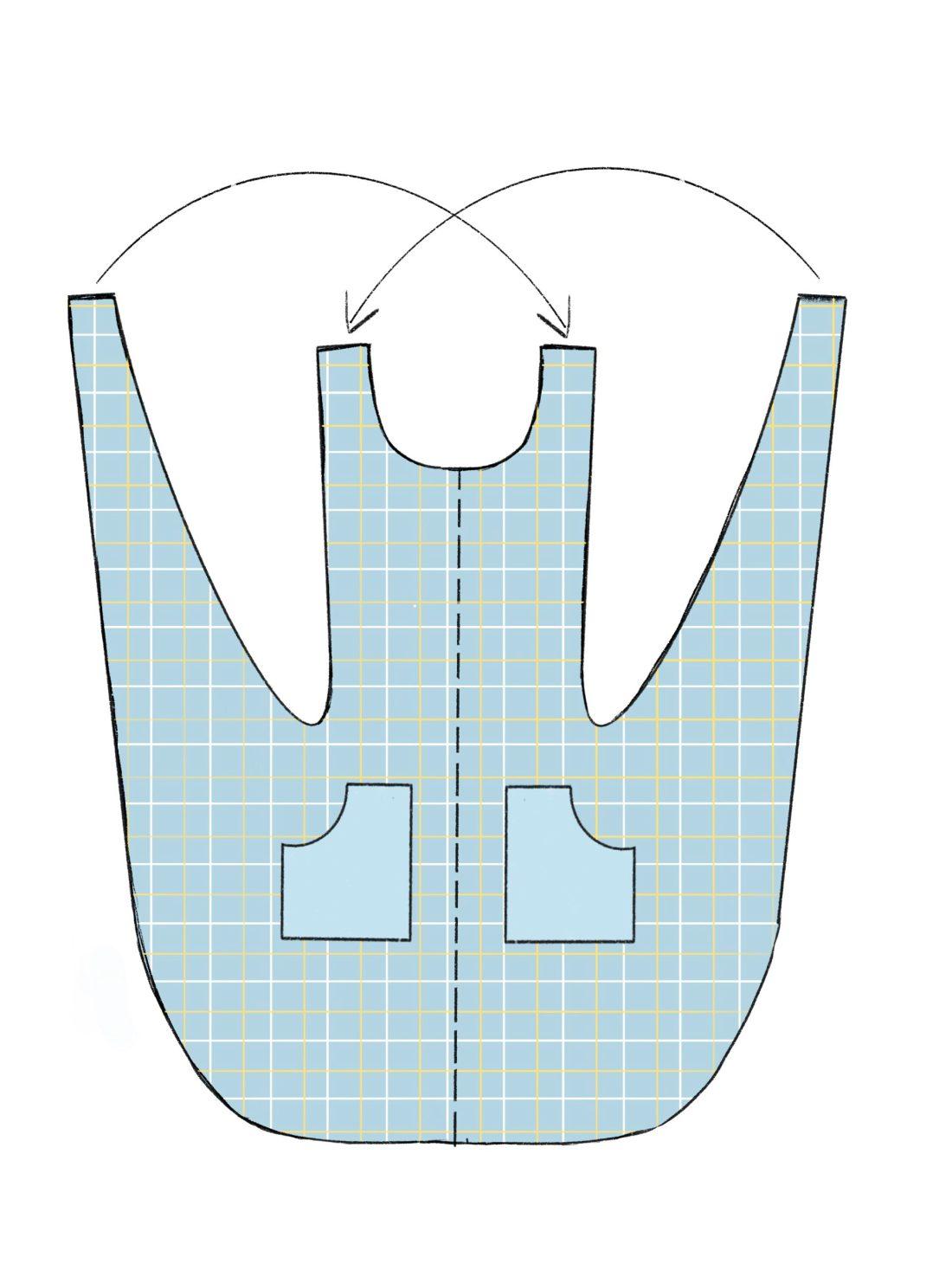 Modell einer Crossover Schürze im japanischen Stil
